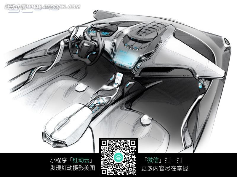 福特iosis max概念驾驶座椅线稿高清图片