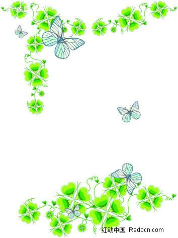 四叶草蝴蝶花纹背景素材图片 881657 底-黑白边框素材简笔画 简单黑图片