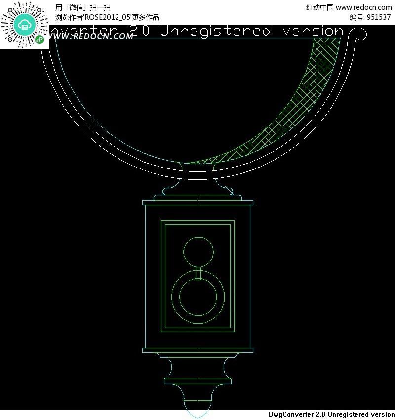 壁灯图纸 半圆状灯具 编号 951537 CAD图库 材质 贴图 CAD图库 3D素