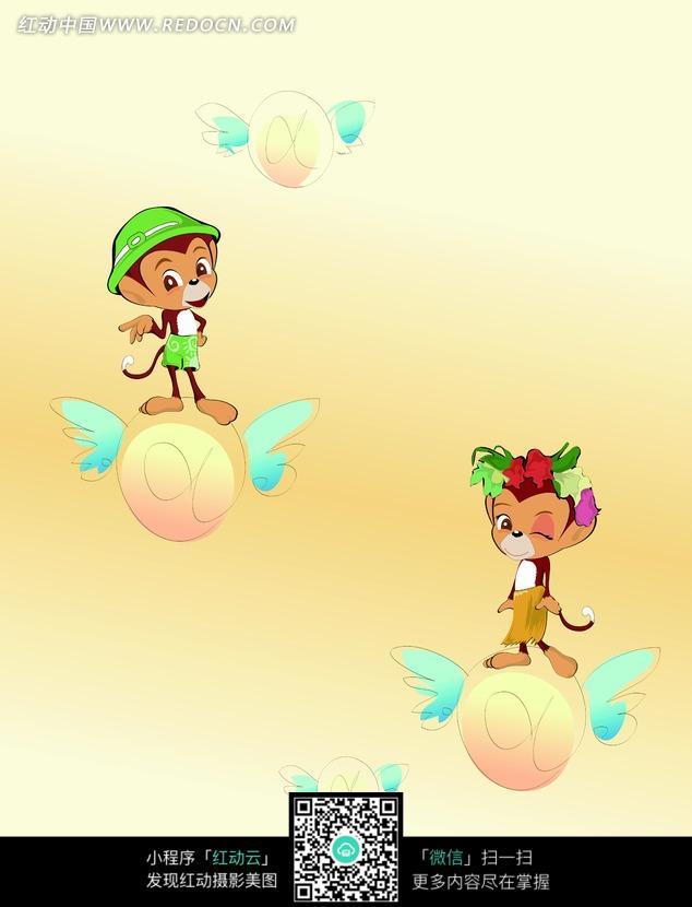 彩色卡通画站在飞球上的小猴子图片 高清图片