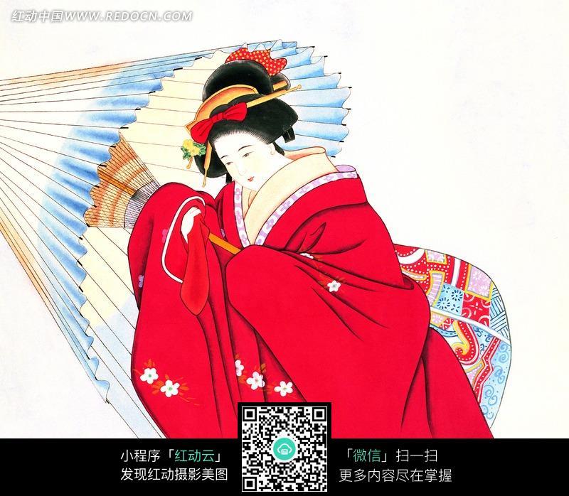 浮世绘穿和服打伞的日本女性图片 传统书画 吉