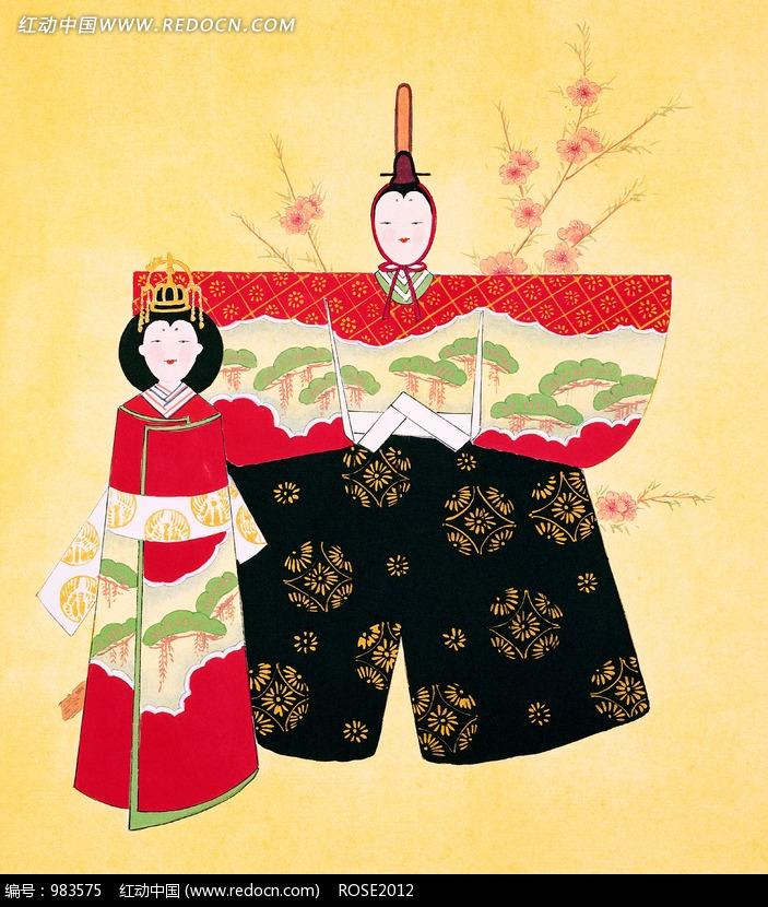 日本浮世绘天皇和皇后图片-传统书画 吉祥图案 艺术图片