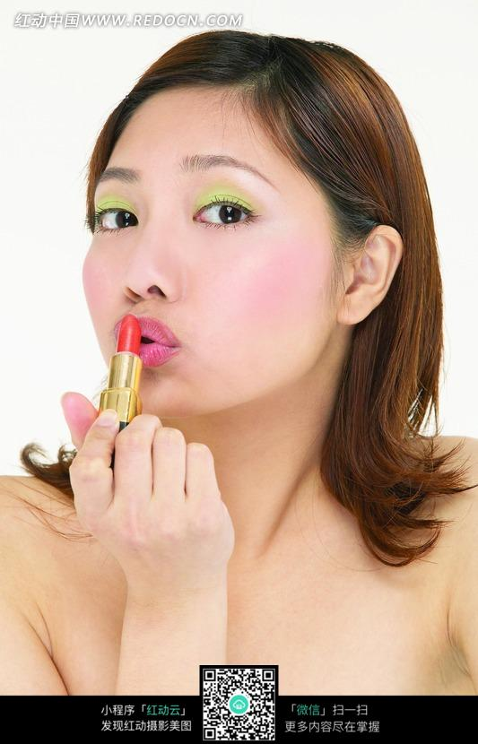 亲吻口红的美女图片 人物图片素材 图片库 图库