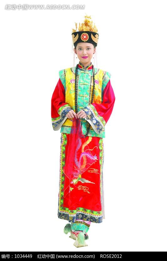 穿着清朝宫廷服饰的美女图片 人物图片素材|图片库