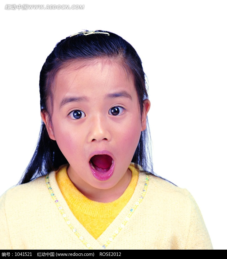 夸张表情的小女孩图片 人物图片素材 图片库 图