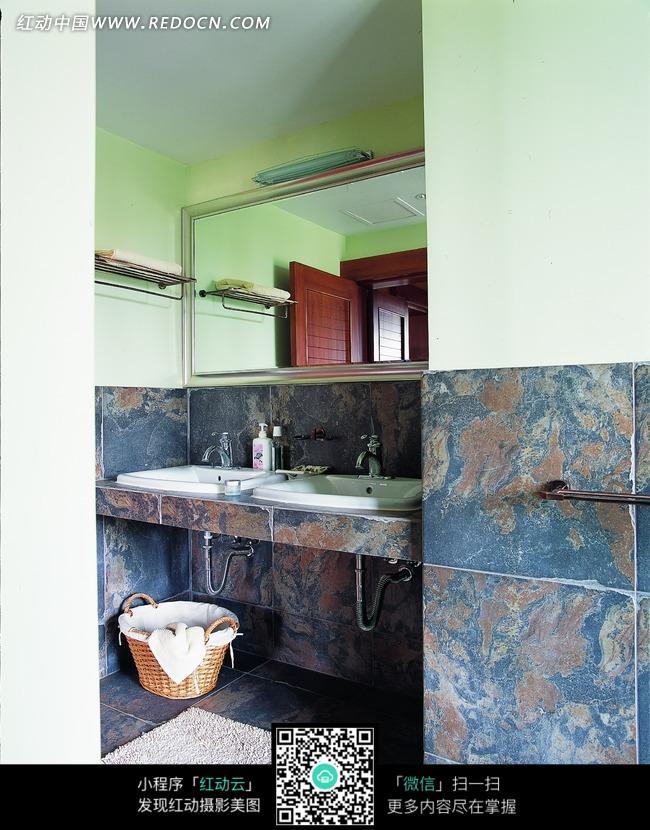 大理石墙裙装饰的洗手间图片 环境图片 1042675 高清图片