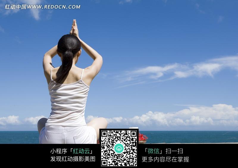在海边瑜伽的美女背面图片编号:1047465 女