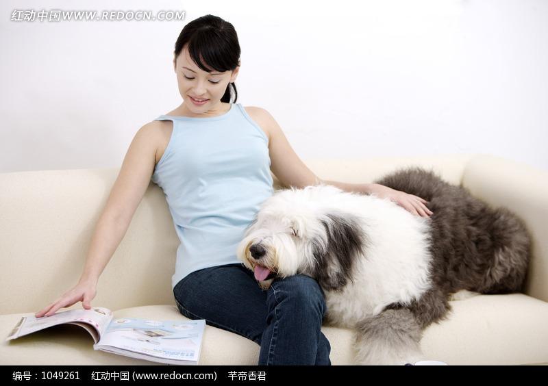 一手抚摸着狗狗一手翻书的美女