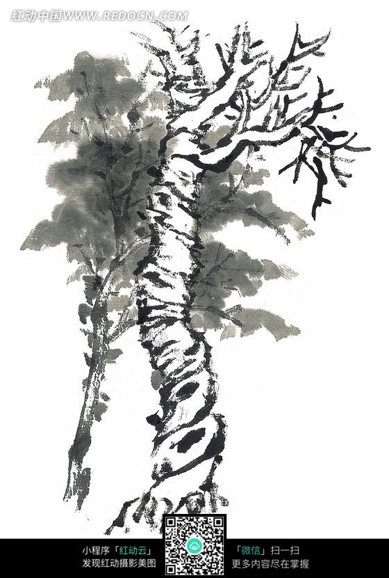 树干粗壮的树黑白水墨画图片 传统书画 吉祥图案 艺术图片...