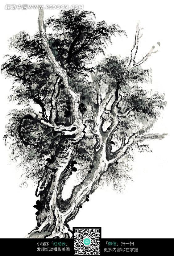 茂盛的树木黑白水墨画图片 传统书画 吉祥图案 艺术图片下...
