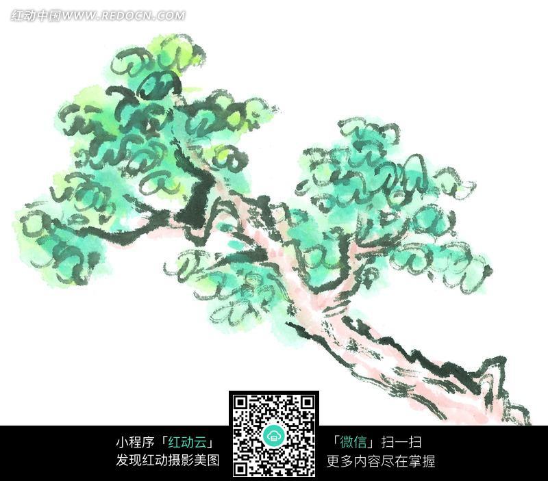 一棵青色叶子树木写意画图片 传统书画 吉祥图案 艺术图片...