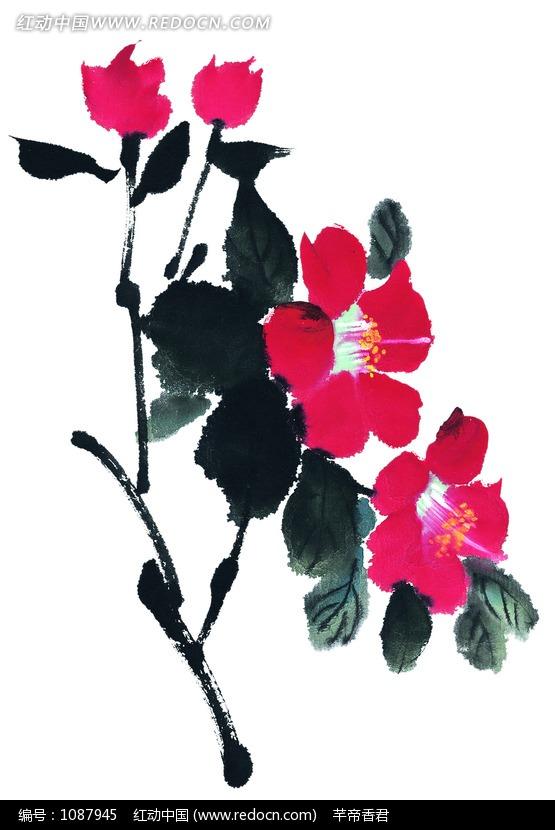 树叶画边-色娇艳的花朵和叶子水墨画