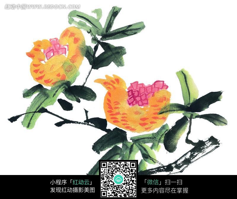 绿枝上长着美丽的花朵写意画图片 传统书画 吉祥图案 艺术...