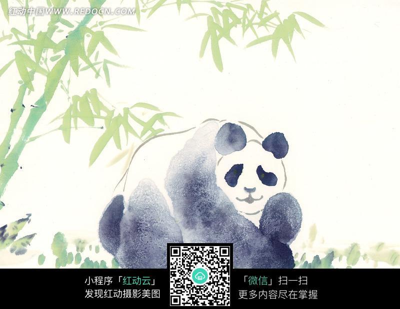 竹子边的熊猫水墨画图片 1094687 书画文字图片