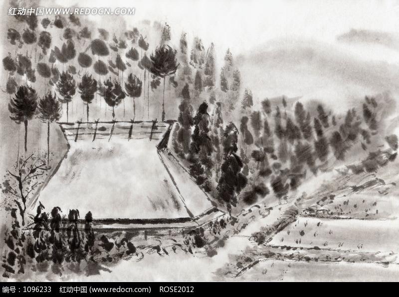 水墨画—林间的茅草屋和屋前的水田设计图片图片