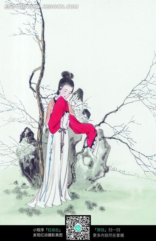 水墨画 抬起袖子放在下巴边的古代美女图片编