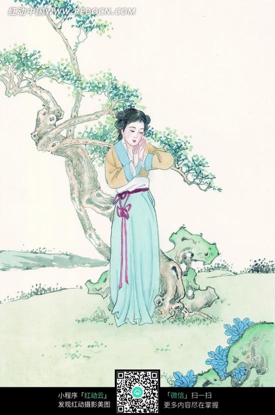 水墨画―古树边双手合掌放在脸边的古代美女图片