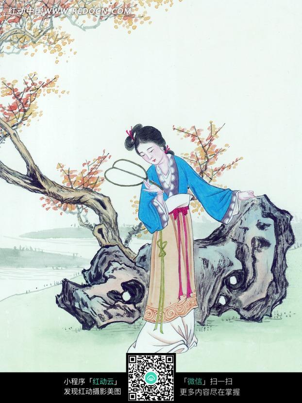 古代美女吹笛子图片_手绘吹笛子的古代女子设计图片 - 动手网