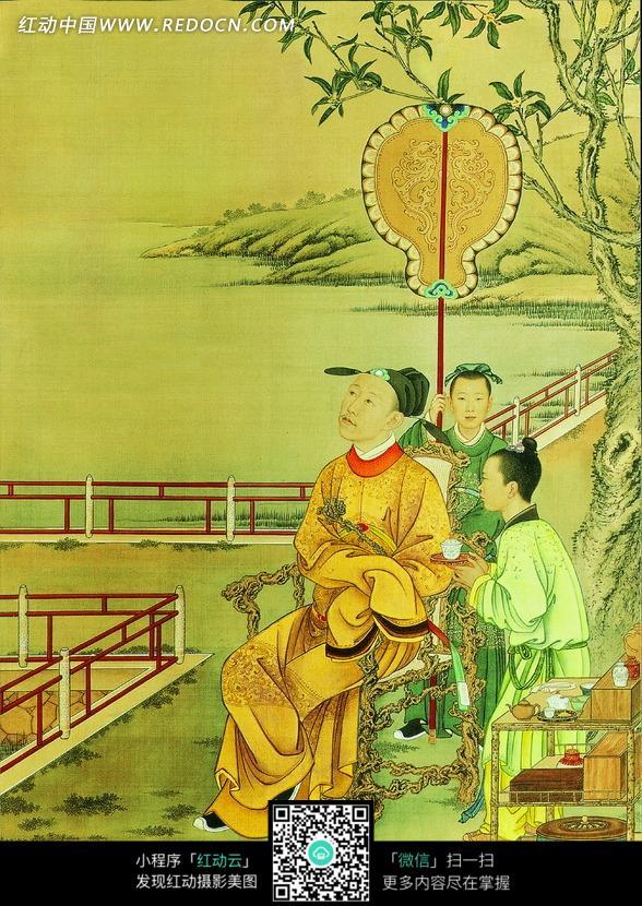 中国传统画 老者树下休息乘凉图片