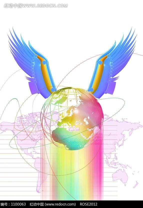 世界地图前插着蓝色翅膀的地球图片