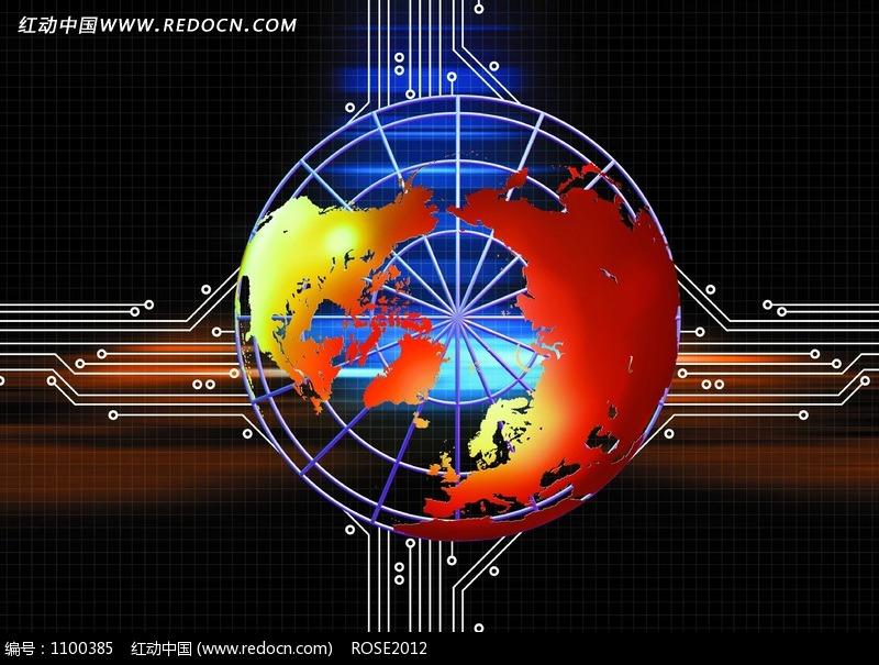 电路芯片上数码地球高清图片