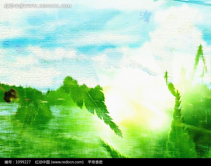 蓝天白云下的绿树 水彩画 设计图片