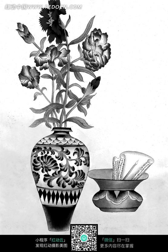 工笔画之坛子和花瓶里盛开的花朵