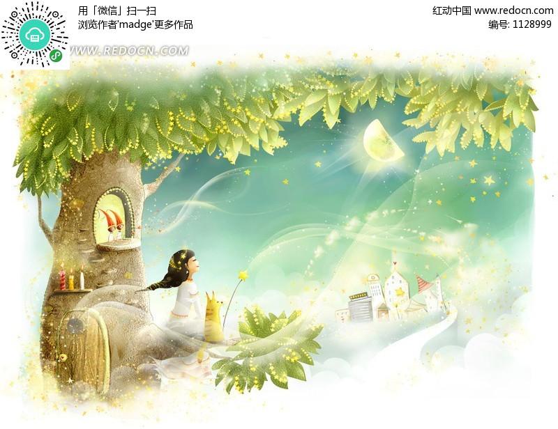 仰望月亮的卡通精灵女孩编号:1128999
