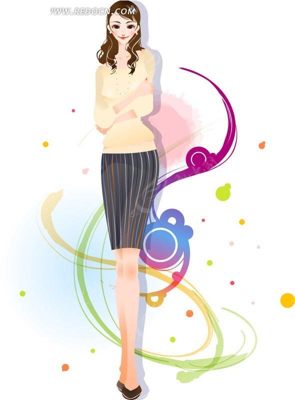 抱着胳膊的美女动感线条涂鸦矢量图编号:119
