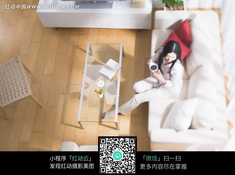 客厅里沙发上喝茶的美女图片 环境图片 图片库