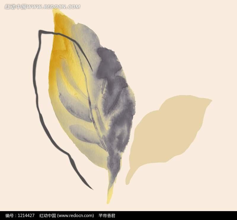 树叶画边-手绘水墨彩色叶子插画文件