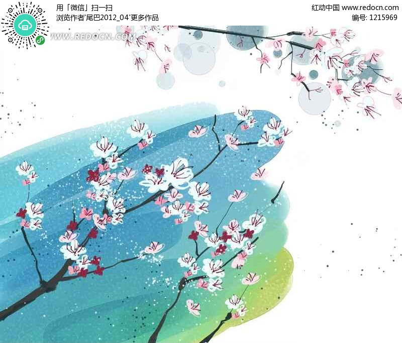 桃花水彩手绘 psd花纹背景 ps底纹素材下载 1215969