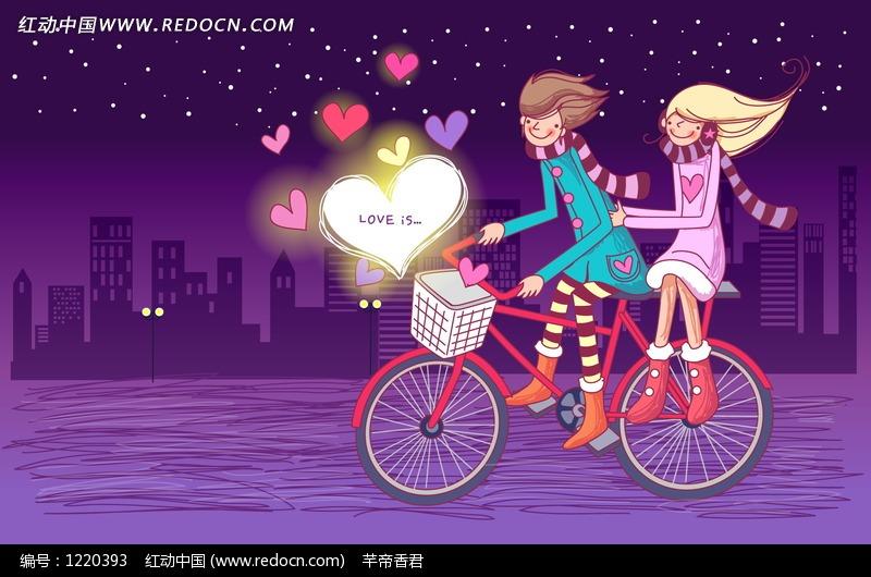 骑自行车男孩载着女孩插画设计图片