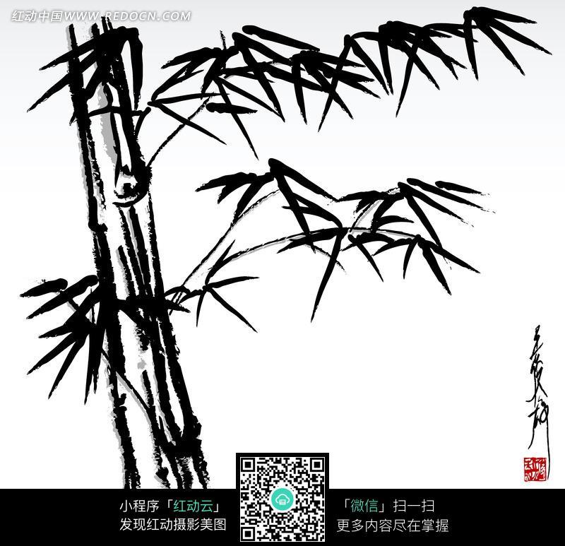 竹子水墨画设计图片