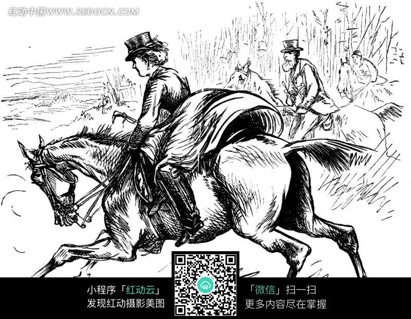 欧式漫画草原骑马的女性图片编号:1229307