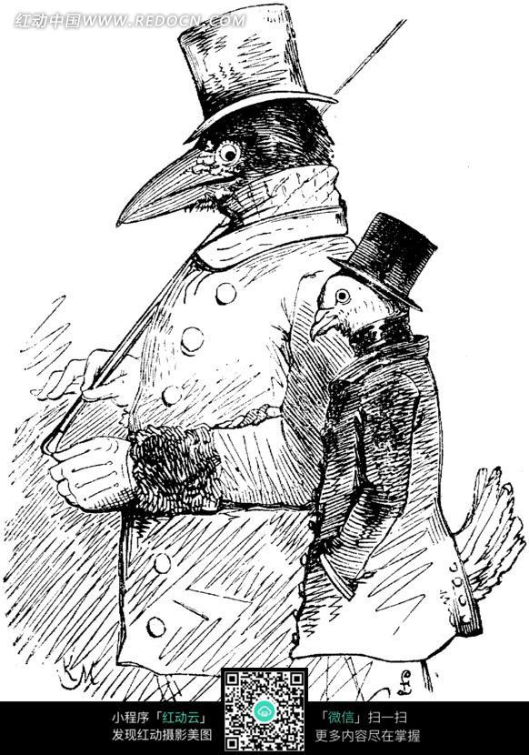 鹰旁边的鸡黑白素描插画图片 1228853 人物卡通 漫画插画