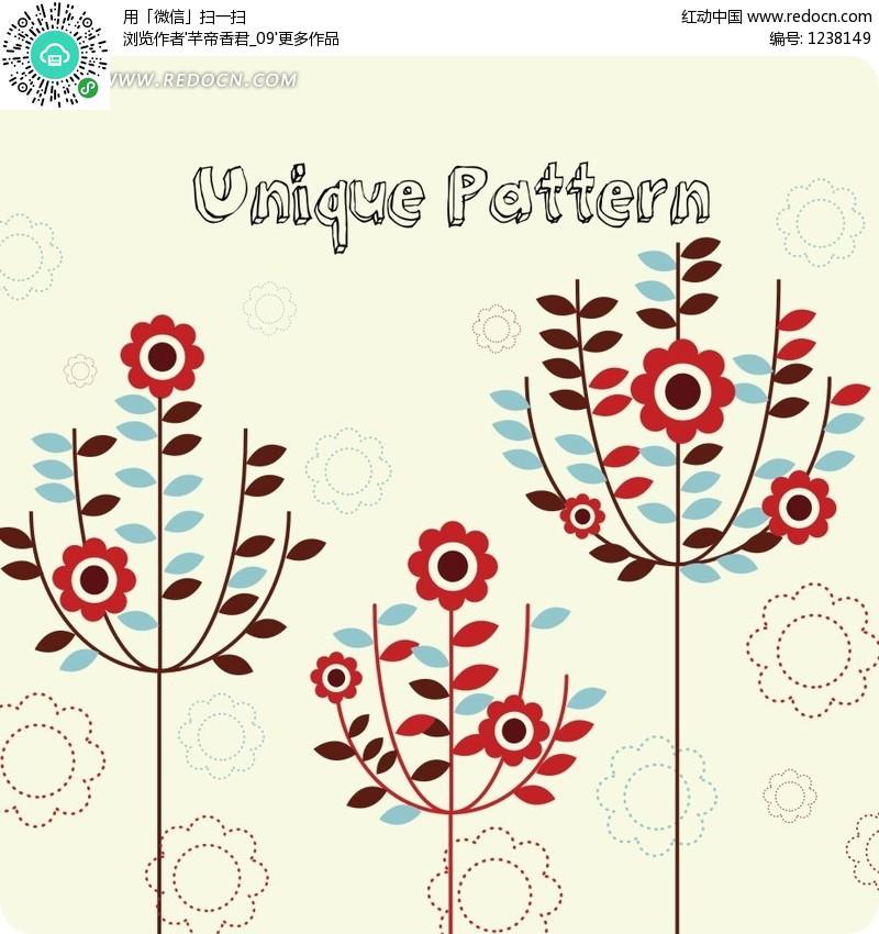 花草天空图片 画花草树木的简易图,二方连续图案 花草图