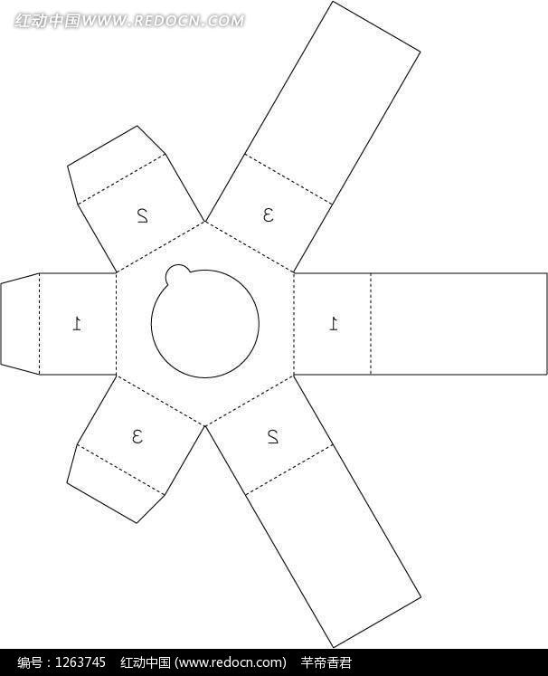 独特的包装盒设计图展开图ai-矢量包装模板下载