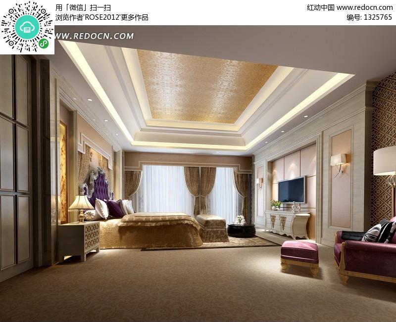 卧室效果图 欧式华丽卧室效果图图片 图库下载 编号 2061高清图片