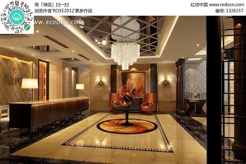 星级酒店大厅装修设计效果图(编号:1326157)图片