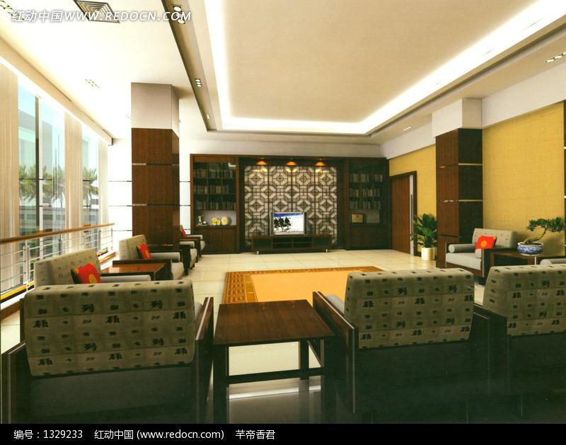 接待厅室3D室内模型设计图片