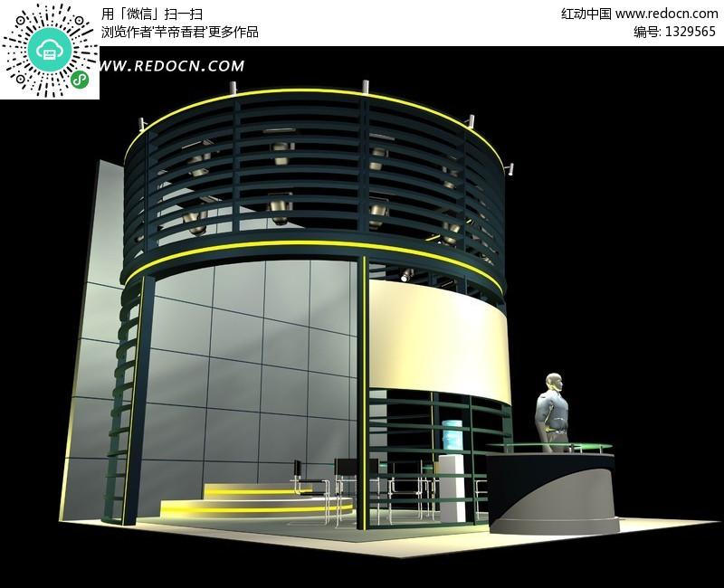 个性雅致创意展厅设计3d效果图设计图片高清图片