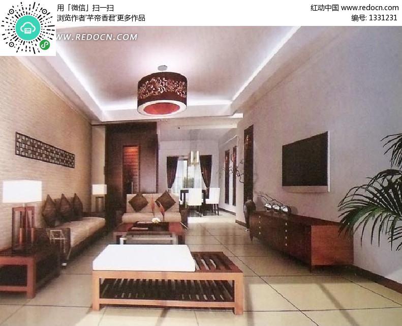 效果图室内设计室内模型3d设计模型源文件吊灯壁画地毯茶几中式风格3d图片