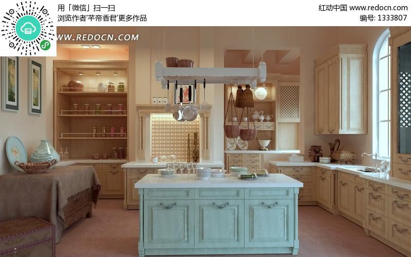 照片级中间带岛台的欧式厨房3dmax模型设计图片图片