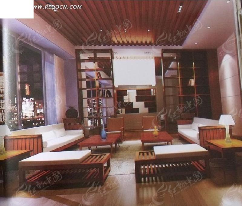 中式小型会客厅3d效果图 室内设计 室内装修 整体效果 整体风格 设计图片