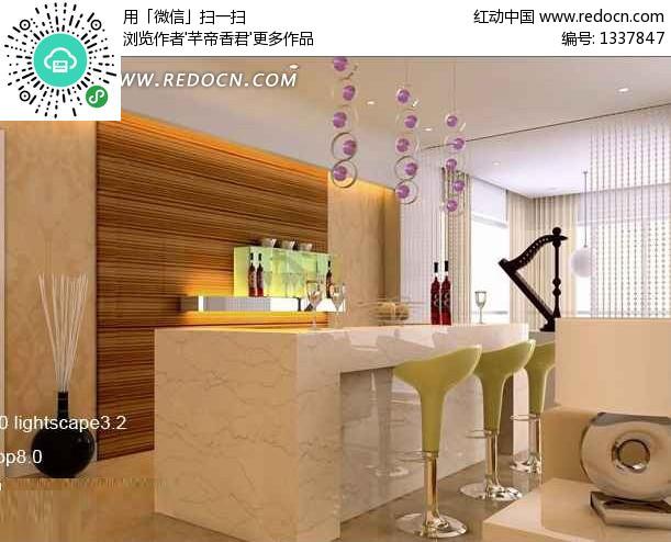 吧台式餐厅3d效果图图片