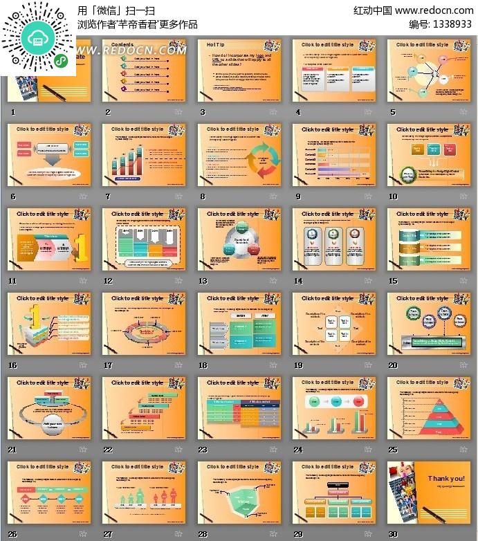 国外橙色背景数据图表分析ppt模板(编号:1338933)