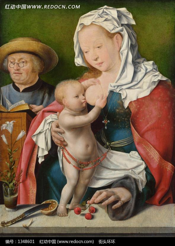 给婴儿喂奶的女人和戴眼镜的男人油画设计图片
