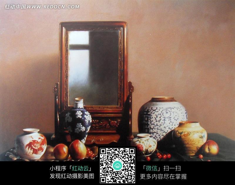 桌上的花瓶和镜框油画图片 传统书画 吉祥图案 艺术图片下...