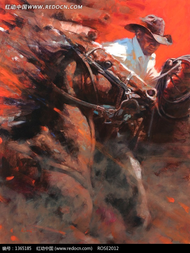 油画带着马群奔腾的西部牛仔图片 编号 1365185 书画文字